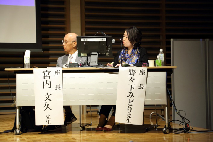 座長の宮内文久・愛媛労災病院院長(左)と野々下みどり・株式会社LHEメディカルコンサルティング代表(右)